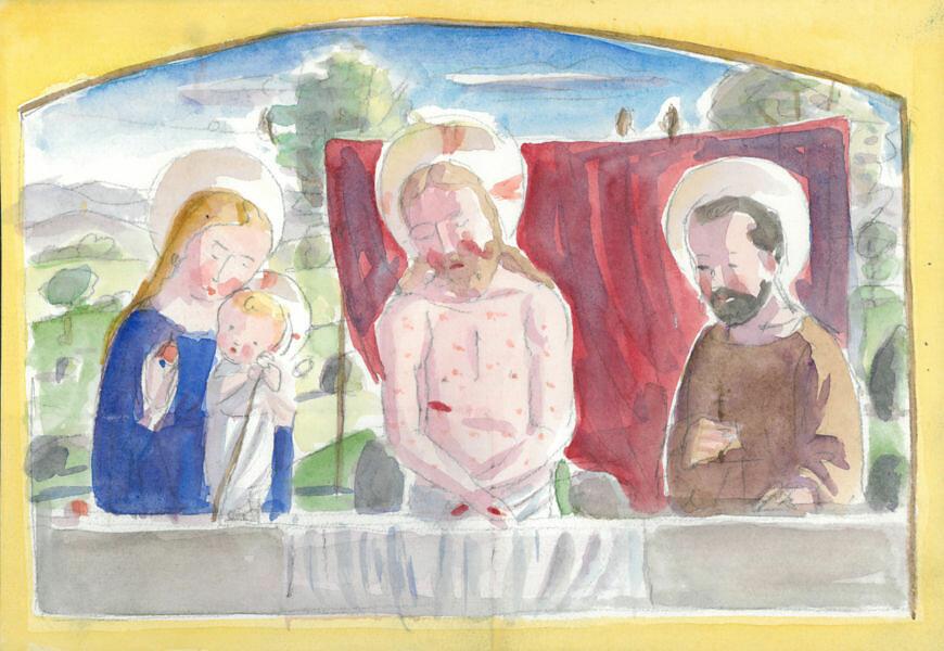 San Romano con Gesù e la Madonna - Concorso Chiesa Gallaratese di Milano